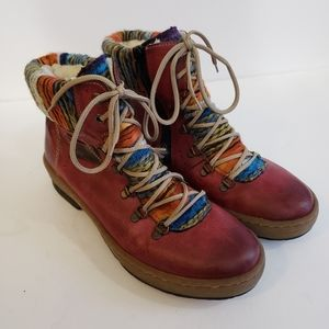 Rieker Red Ankle Workboots Southwestern Detail 39